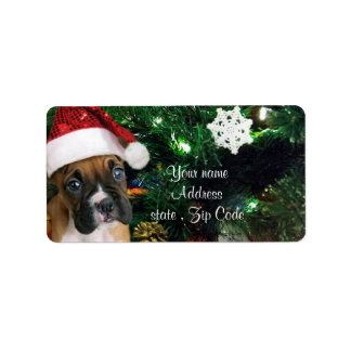 Christmas boxer puppy address label
