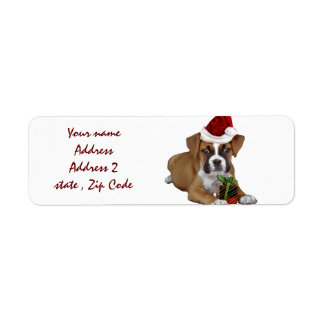 Christmas Boxer puppy address labels