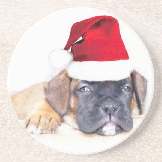 Christmas boxer puppy coaster