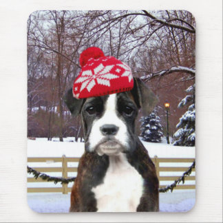 Christmas Boxer puppy dog Mouse Pad