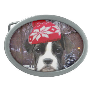Christmas Boxer puppy dog Oval Belt Buckle