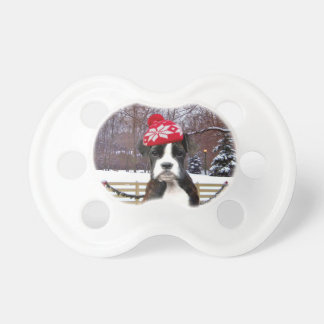 Christmas Boxer puppy dog Pacifier