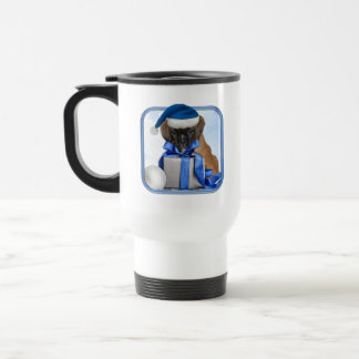 Christmas Boxer puppy dog travel mug