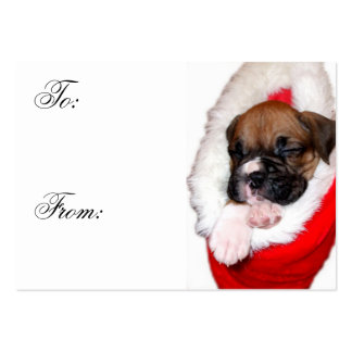 Christmas Boxer Puppy Gift tags Business Card