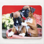Christmas boxer puppy mousepad