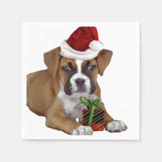 Christmas Boxer puppy Standard Cocktail Napkin