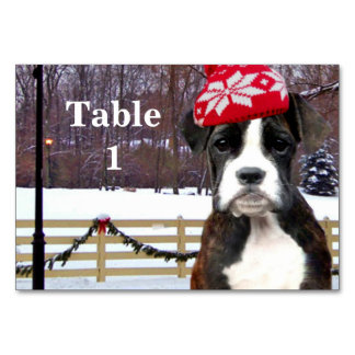 Christmas Boxer puppy Table Card