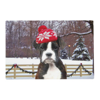 Christmas Boxer Puupy Placemat