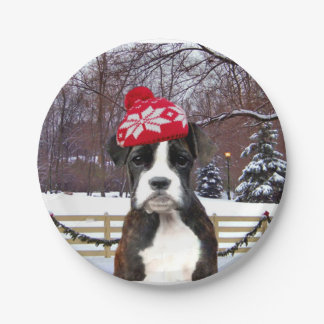Christmas Boxer Puupy 7 Inch Paper Plate