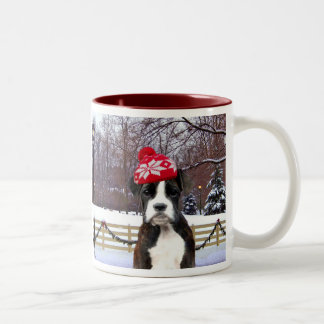 Christmas Boxer Puupy Two-Tone Coffee Mug