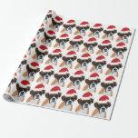 "Christmas Boxer Wrapping Paper<br><div class=""desc"">Adorable Boxer wearing a Santa hat.</div>"