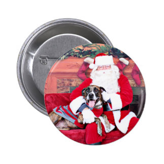 Christmas - BoxerPitbull X - Bruno Pinback Buttons