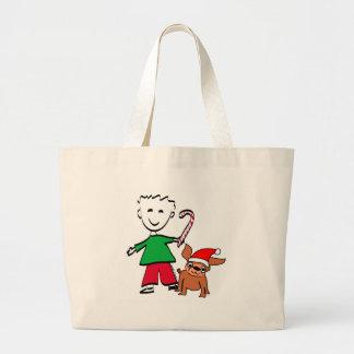 Christmas Boy Tote Canvas Bag