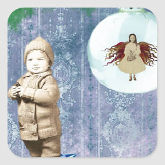 Christmas Boy With His Angel Square Sticker