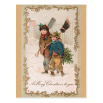 CHRISTMAS boys with Xmas trees Postcard