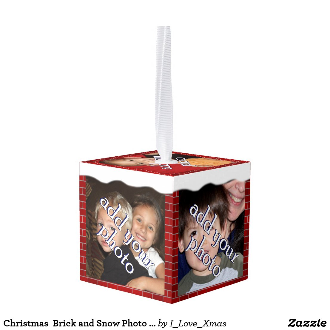 Christmas  Brick and Snow Photo Frame Cube Ornament