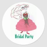Christmas Bridal Party Round Sticker
