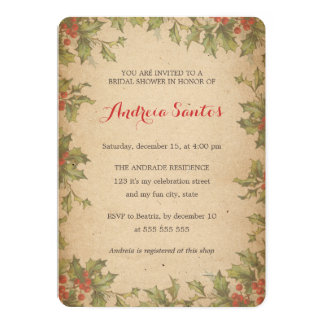 Christmas Bridal Shower Holiday Themed Rustic 5x7 Paper Invitation Card