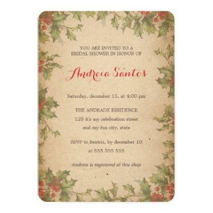 christmas bridal shower holiday themed rustic invitation