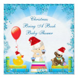 Christmas Bring a Book Baby Boy Blue Baby Shower 5.25x5.25 Square Paper Invitation Card