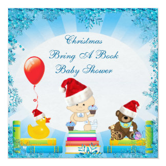 Christmas Bring a Book Baby Boy Blue Baby Shower Personalized Invitations
