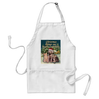 Christmas Brings Our Hearts Together Puppy Kitten Adult Apron