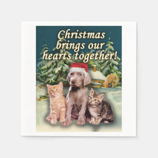 Christmas Brings Our Hearts Together Puppy Kitten Standard Cocktail Napkin