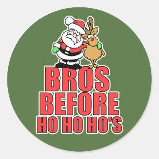 Christmas Bros Santa and Rudolph Classic Round Sticker