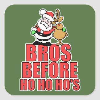 Christmas Bros Santa and Rudolph Square Sticker