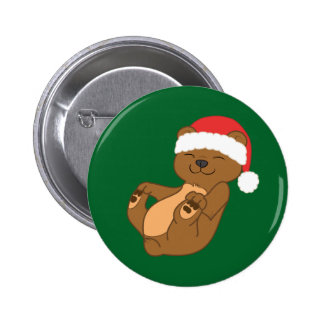 Christmas Brown Bear with Red Santa Hat 2 Inch Round Button