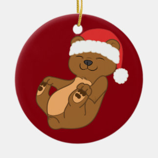 Christmas Brown Bear with Red Santa Hat Ceramic Ornament