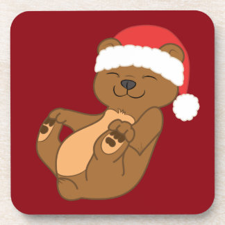 Christmas Brown Bear with Red Santa Hat Coasters