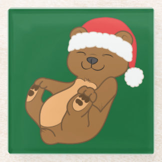 Christmas Brown Bear with Red Santa Hat Glass Coaster