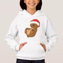 Christmas Brown Bear with Red Santa Hat Hoodie