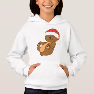 Christmas Brown Bear with Red Santa Hat Hoodie