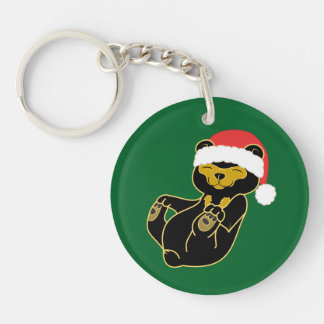 Christmas Brown Bear with Red Santa Hat Keychain