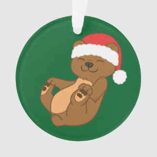 Christmas Brown Bear with Red Santa Hat Ornament