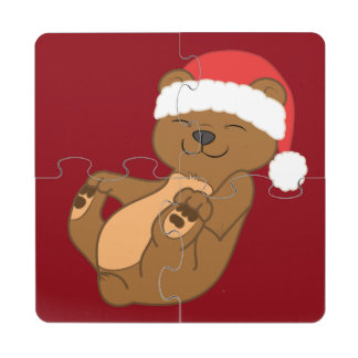 Christmas Brown Bear with Red Santa Hat Puzzle Coaster