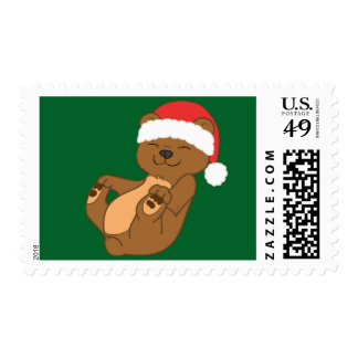 Christmas Brown Bear with Red Santa Hat Stamp