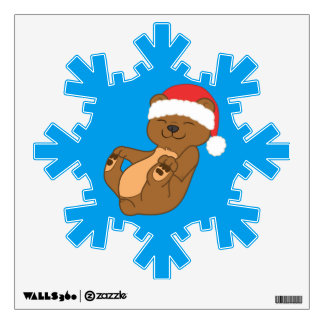 Christmas Brown Bear with Red Santa Hat Wall Sticker