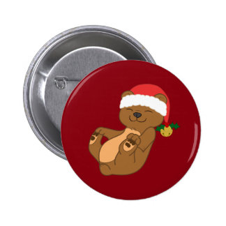 Christmas Brown Bear with Santa Hat & Jingle Bell 2 Inch Round Button
