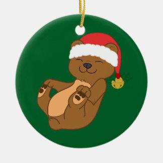 Christmas Brown Bear with Santa Hat & Jingle Bell Ceramic Ornament