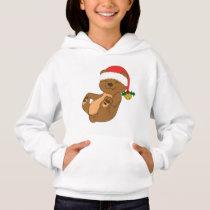 Christmas Brown Bear with Santa Hat & Jingle Bell Hoodie