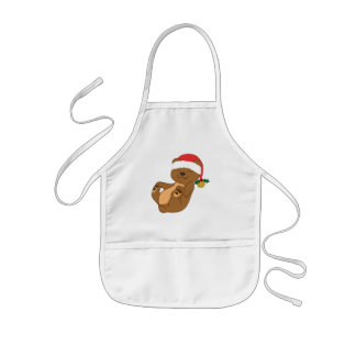 Christmas Brown Bear with Santa Hat & Jingle Bell Kids' Apron