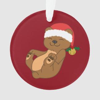 Christmas Brown Bear with Santa Hat & Jingle Bell Ornament