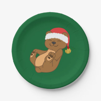 Christmas Brown Bear with Santa Hat & Jingle Bell Paper Plate