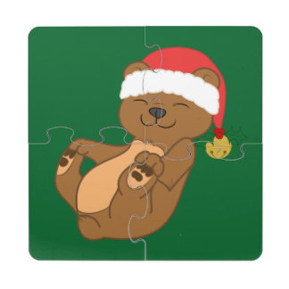 Christmas Brown Bear with Santa Hat & Jingle Bell Puzzle Coaster