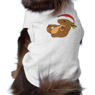 Christmas Brown Bear with Santa Hat & Jingle Bell T-Shirt