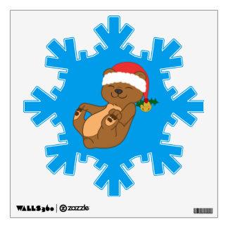 Christmas Brown Bear with Santa Hat & Jingle Bell Wall Sticker