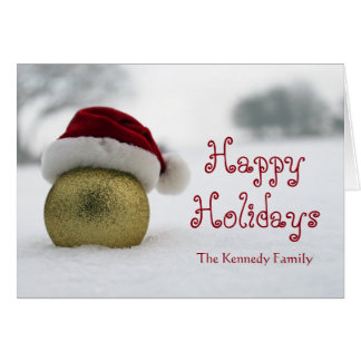 Christmas bubble on the snow with a Santa hat Greeting Card